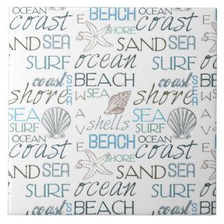 Tipografía de la playa azulejo cuadrado grande