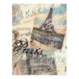 Tipografía de las señales del decoupage de París Tarjetas Postales
