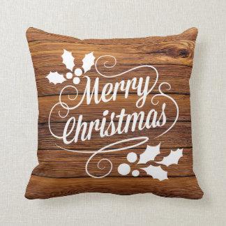 Tipografía de madera del navidad del granero cojín