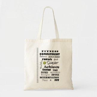 Tipografía de motivación e inspirada de la aptitud bolsa tela barata