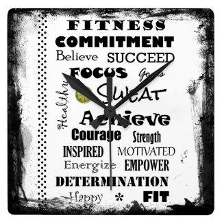 Tipografía de motivación e inspirada de la aptitud reloj