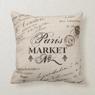 Tipografía de París almohada-beige Cojín Decorativo