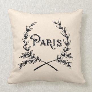Tipografía de París del vintage Cojín