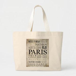 Tipografía de París - estilo del subterráneo Bolsa Tela Grande