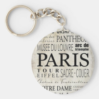 Tipografía de París - estilo del subterráneo Llavero Redondo Tipo Pin