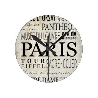 Tipografía de París - estilo del subterráneo Reloj Redondo Mediano