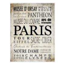 Tipografía de París - estilo del subterráneo Postal