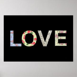 Tipografía del amor - negro impresiones