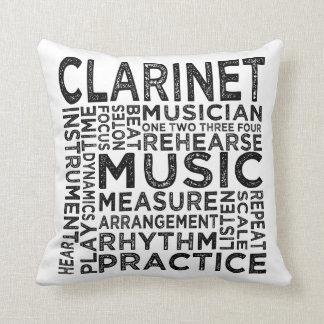 Tipografía del Clarinet Cojín Decorativo
