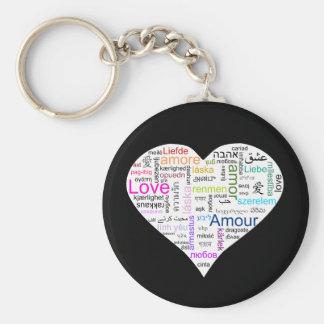 Tipografía del corazón del amor del arco iris llavero
