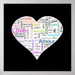 Tipografía del corazón del amor del arco iris poster