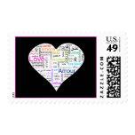 Tipografía del corazón del amor del arco iris timbres postales