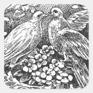 tipografía del diseño de los lovebirds del vintage pegatina cuadrada
