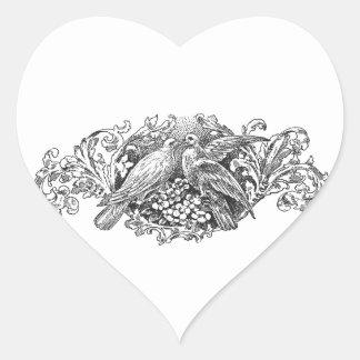 tipografía del diseño de los lovebirds del vintage pegatina en forma de corazón