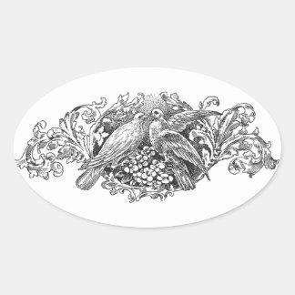 tipografía del diseño de los lovebirds del vintage pegatina ovalada