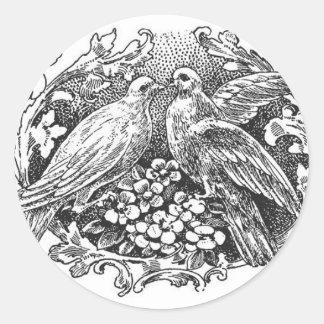 tipografía del diseño de los lovebirds del vintage pegatina redonda