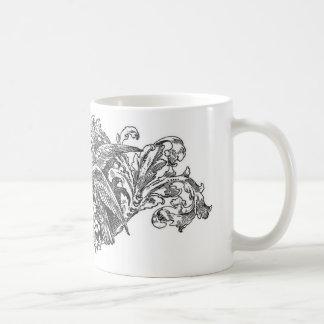 tipografía del diseño de los lovebirds del vintage taza básica blanca