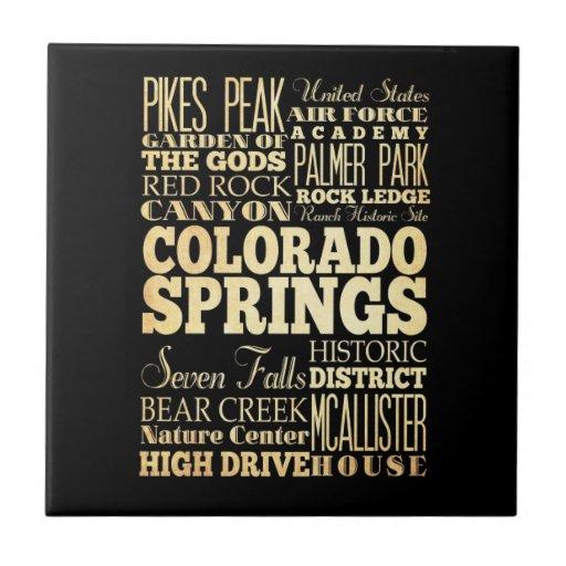 Tipografía del estado de ciudad de Colorado Spring Tejas Ceramicas