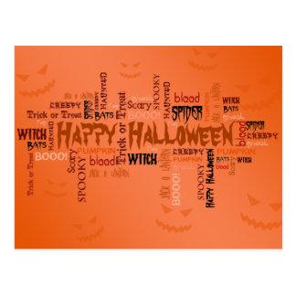 Tipografía del feliz Halloween - postal