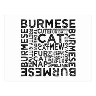Tipografía del gato birmano tarjetas postales