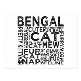 Tipografía del gato de Bengala Tarjetas Postales