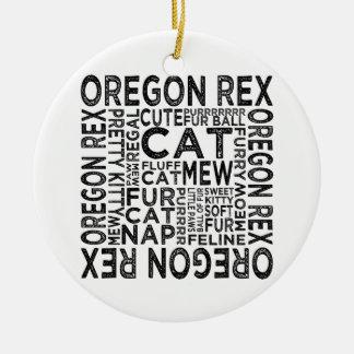 Tipografía del gato de Oregon Rex Adorno Redondo De Cerámica