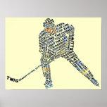 Tipografía del jugador de hockey posters