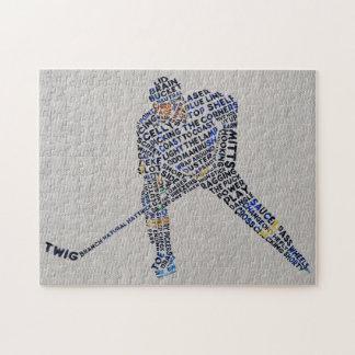 Tipografía del jugador de hockey puzzles