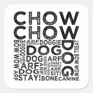 Tipografía del perro chino de perro chino calcomanía cuadrada