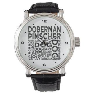Tipografía del Pinscher del Doberman Reloj