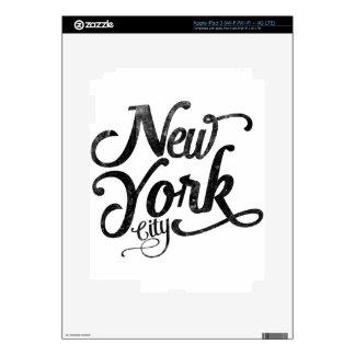 Tipografía del vintage de New York City iPad 3 Pegatina Skin
