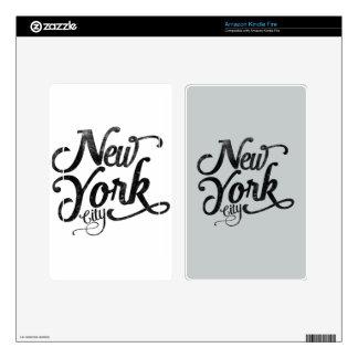 Tipografía del vintage de New York City Kindle Fire Pegatinas Skins