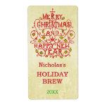 Tipografía del vintage del Año Nuevo del navidad Etiquetas De Envío
