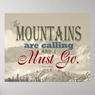 Tipografía del vintage que las montañas están llam posters