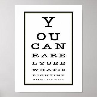 Tipografía divertida de la carta de prueba del ojo póster
