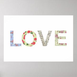 Tipografía elegante lamentable del amor - blanco posters