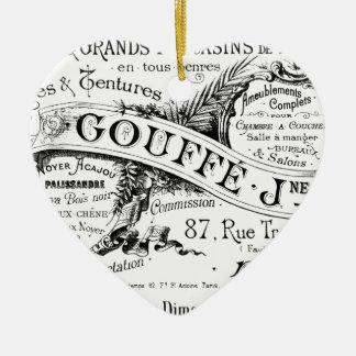 tipografía francesa de la publicidad del vintage adorno navideño de cerámica en forma de corazón