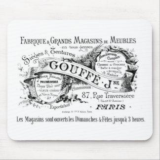 tipografía francesa de la publicidad del vintage alfombrillas de ratones