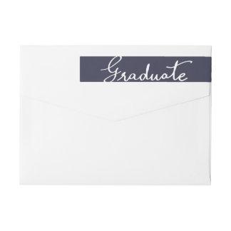 Tipografía graduada elegante de los azules marinos etiquetas postales