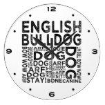 Tipografía inglesa del dogo relojes de pared