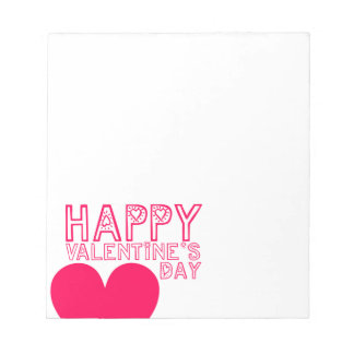 Tipografía linda del el día de San Valentín feliz Blocs De Notas