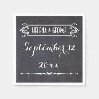 Tipografía moderna, boda de la pizarra del vintage servilletas de papel
