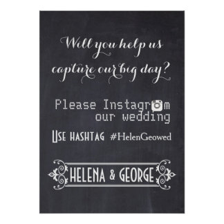 Tipografía moderna con el boda del hashtag de Inst Posters