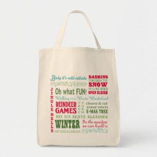 Tipografía moderna del navidad de las tendencias bolsa tela para la compra