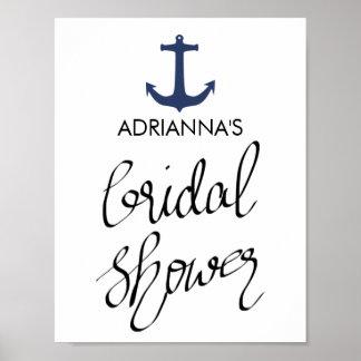 Tipografía nupcial de la ducha del ancla náutica póster