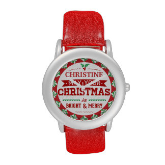 Tipografía personalizada estilo elegante de Navida Relojes De Mano