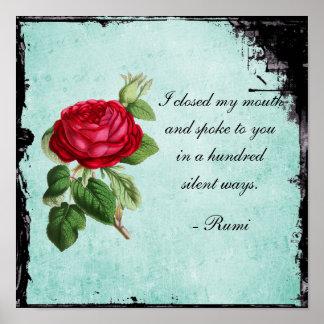 Tipografía poética de la cita de Rumi con el rosa Póster