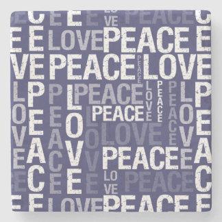 tipografía púrpura y blanca de la paz del amor posavasos de piedra