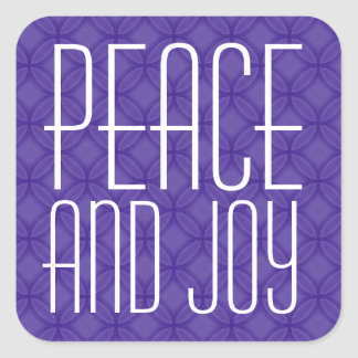 Tipografía púrpura y blanca de la paz y de la pegatina cuadrada