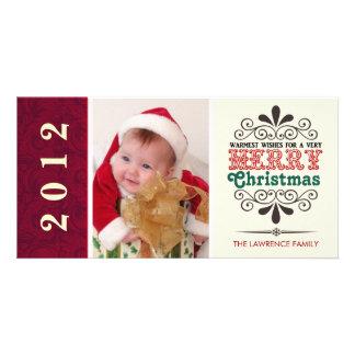Tipografía retra Photocards de las Felices Navidad Tarjetas Fotograficas